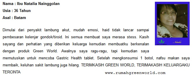 Testimoni Gastric Health Tablet Green World