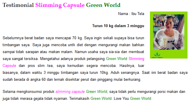 Testimoni Slimming Capsule Green World 1
