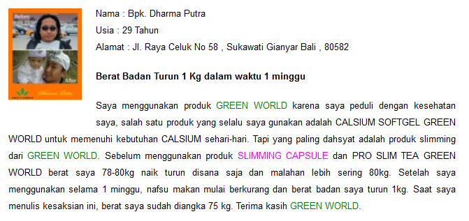 Testimoni Slimming Capsule Green World 4